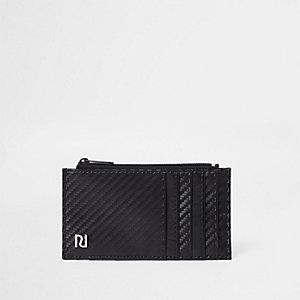 Zwarte kaarthouder met contrasterende details en textuur