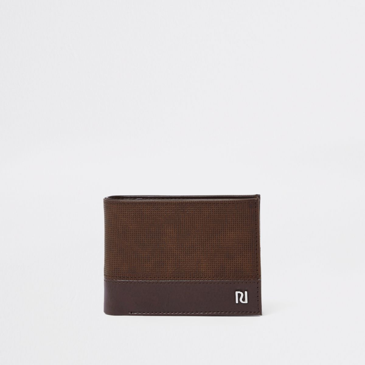 Dark brown perforated wallet