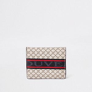 Ecru RI monogram fold out wallet
