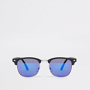 Black blue lens half frame retro sunglasses