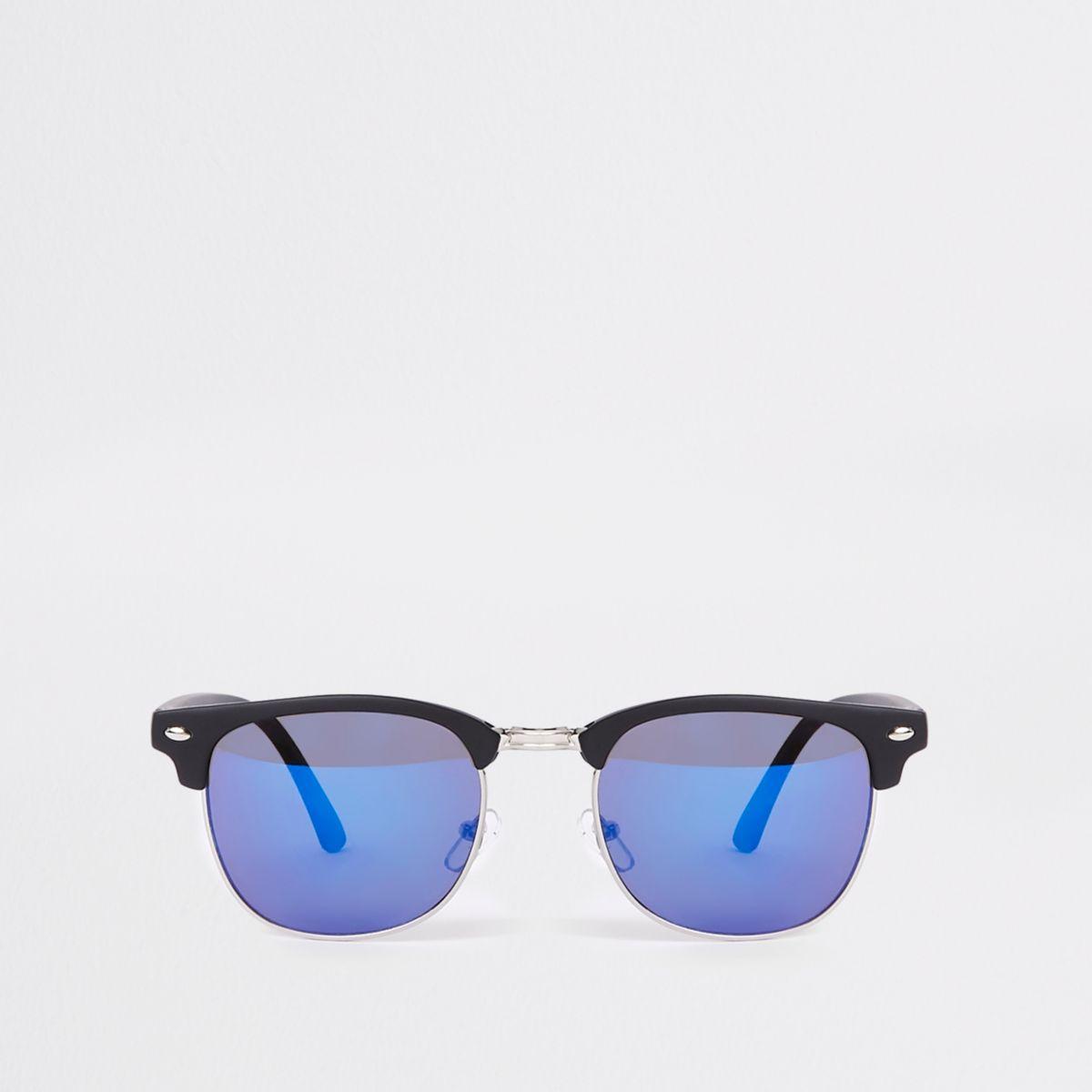 River Island Lunettes de soleil rétro noires à demi-monture et verres bleus