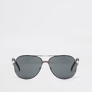 Stahlgraue Pilotensonnenbrille