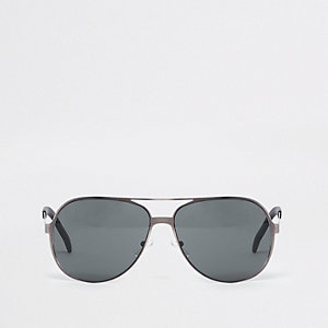 Grey gunmetal aviator sunglasses