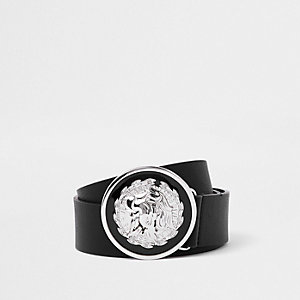 Black lion circle buckle belt