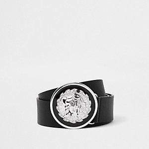 Ceinture noire à boucle ronde motif lion