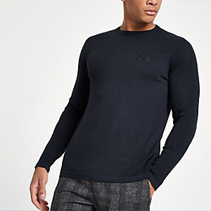 R96 navy slim fit crew neck sweater