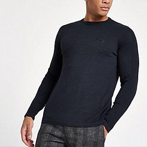 Marineblauwe slim-fit pullover met ronde hals en 'R96'-print