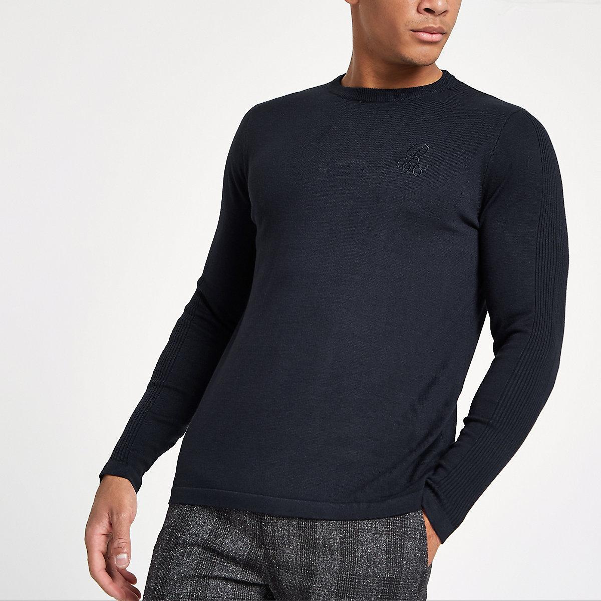 R96 navy slim fit crew neck jumper