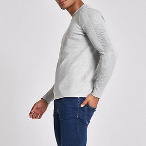 Grey 'R96' slim fit crew neck jumper