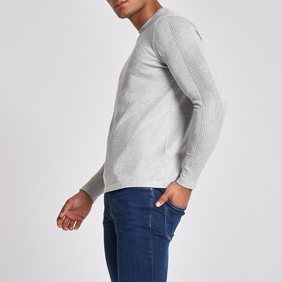R96 grey slim fit crew neck jumper
