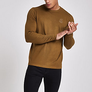 R96 green slim fit crew neck sweater