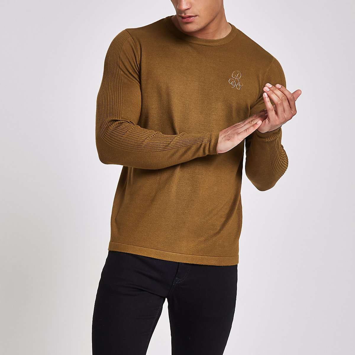 R96 green slim fit crew neck jumper