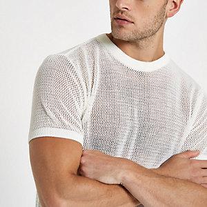 Ecru slim-fit T-shirt met mesh