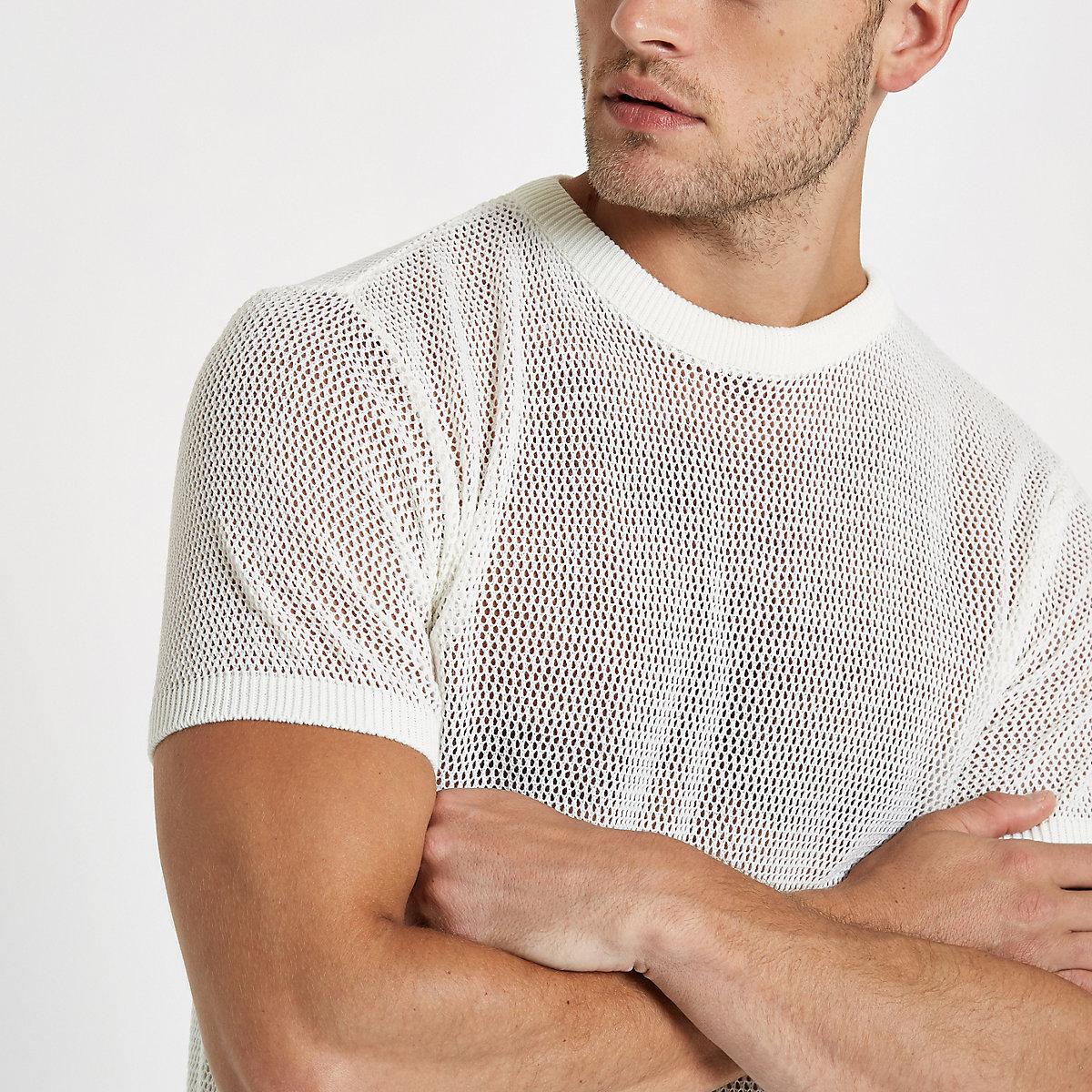 Ecru mesh slim fit T-shirt