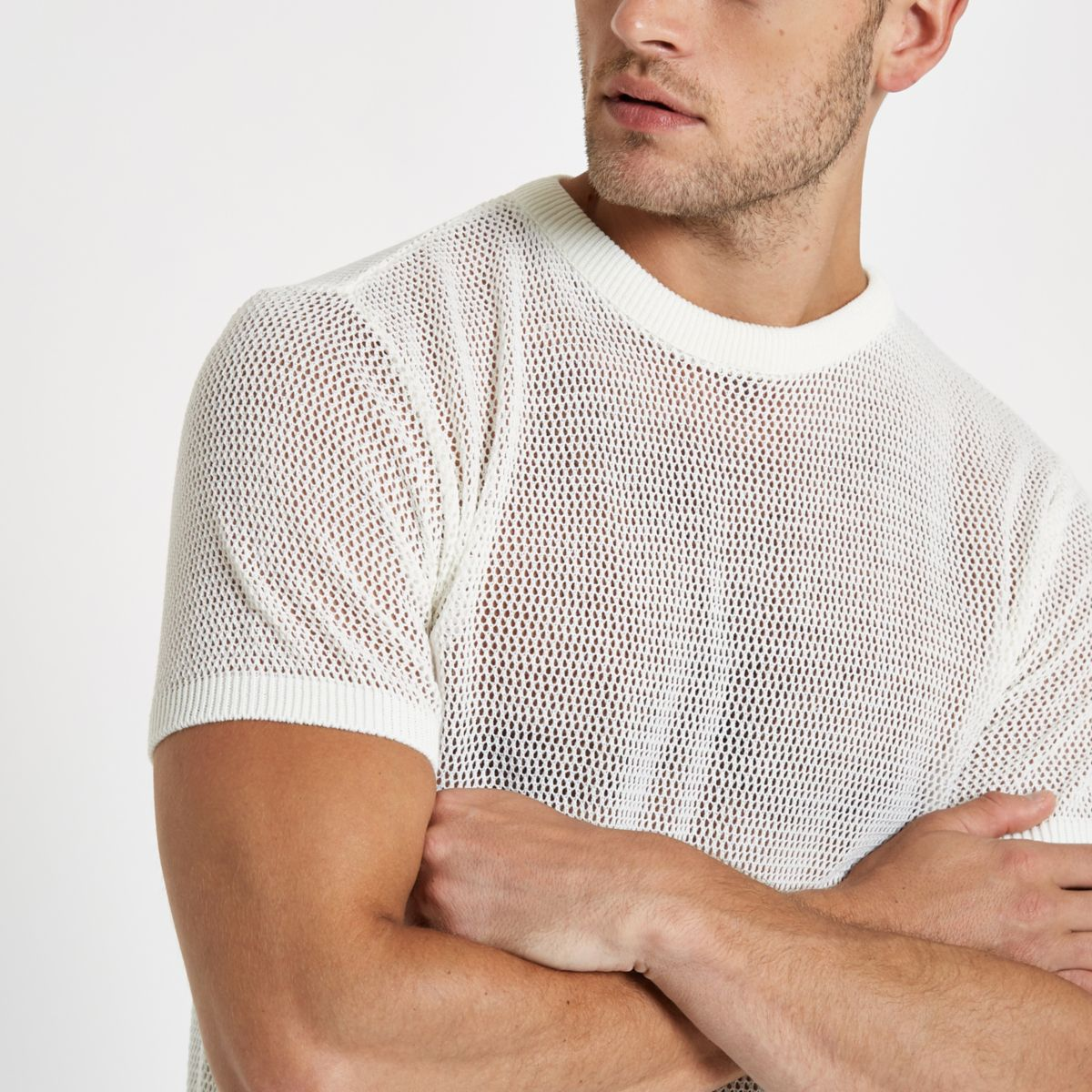 Ecru mesh slim fit T-shirt