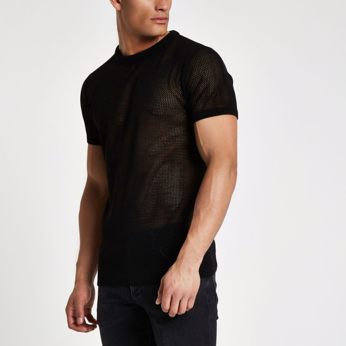 Black mesh slim fit T-shirt
