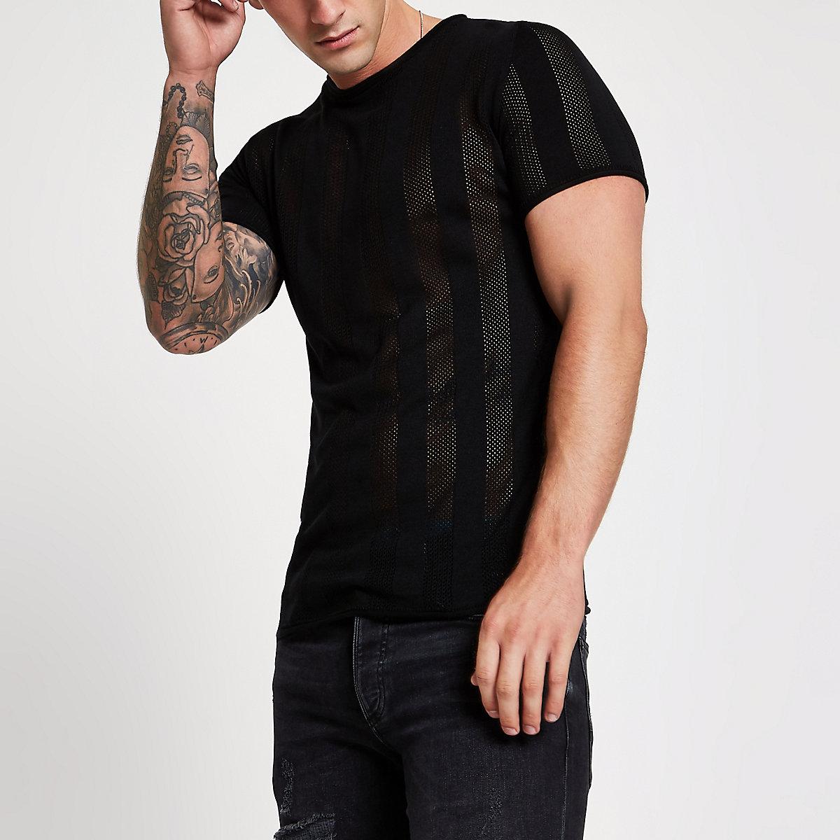 Black mesh stripe slim fit T-shirt