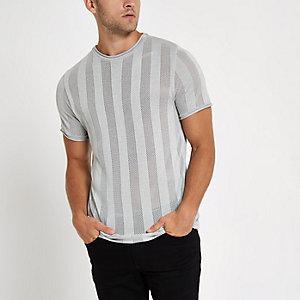 Hellgraues, gestreiftes Slim Fit T-Shirt mit Netzstoff