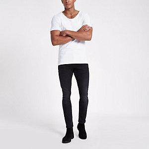 Weißes Muscle Fit T-Shirt mit U-Ausschnitt