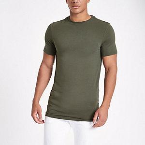 T-shirt ajusté ras-du-cou vert