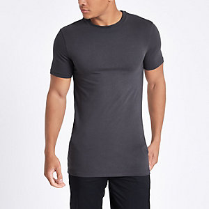 Graues, langes Muscle Fit T-Shirt
