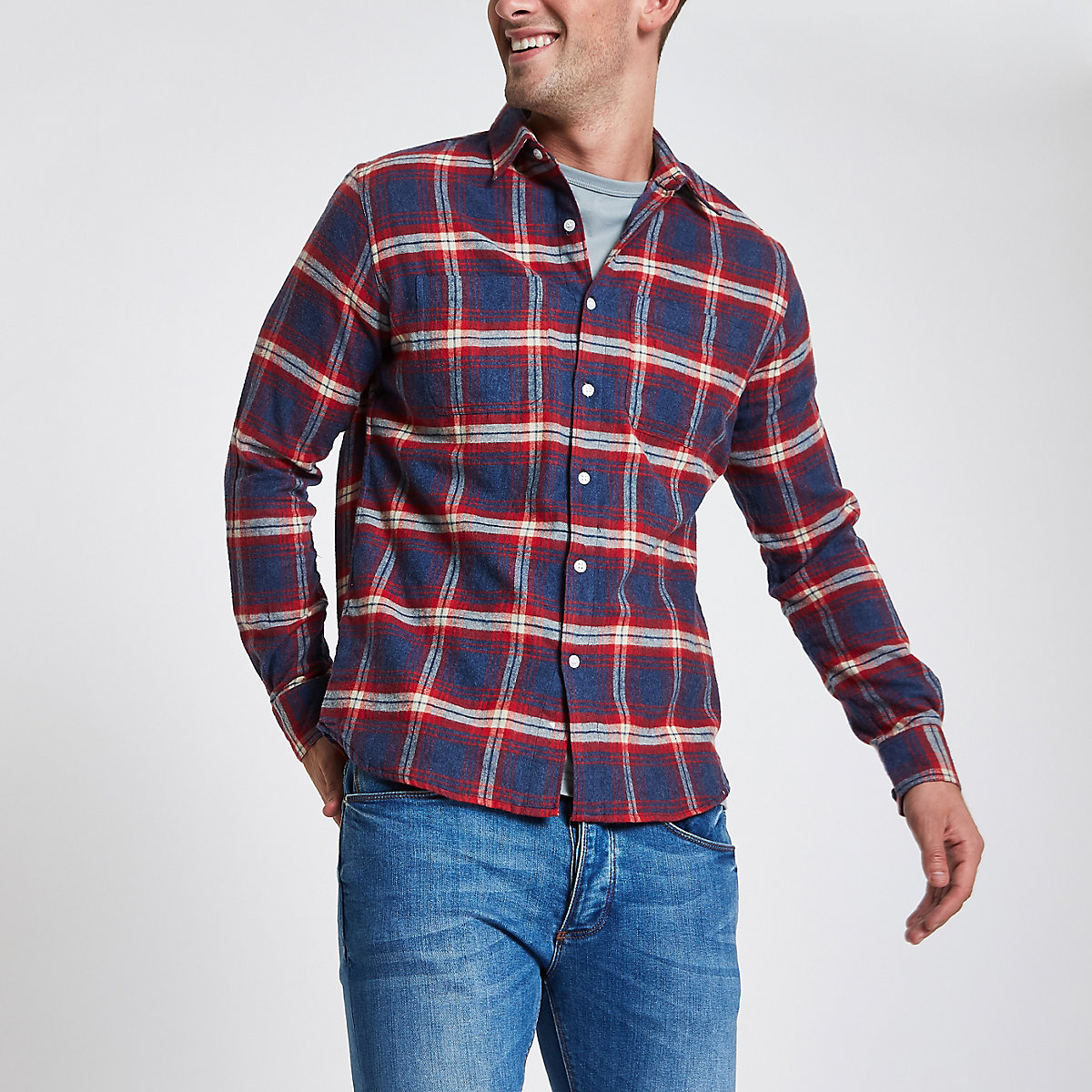 Bellfield – Rot kariertes, geknöpftes Hemd