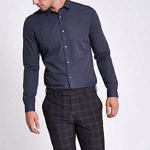 Marineblaues Slim Fit Hemd mit geknöpftem Kragen