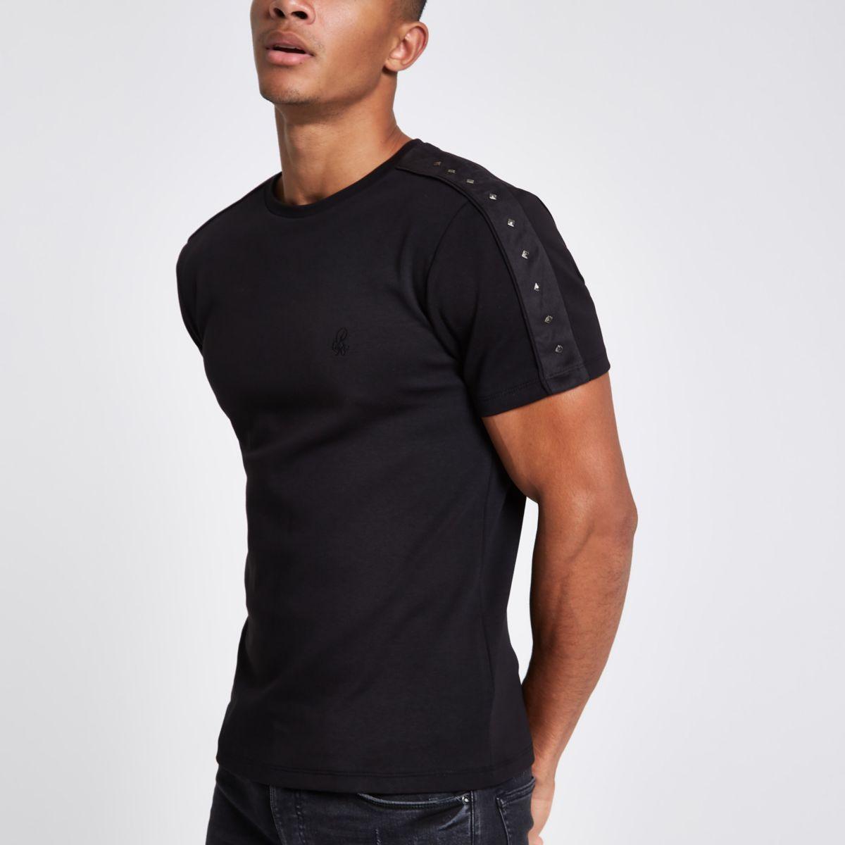 Black suedette studded slim fit T-shirt