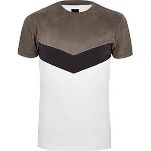 Grey faux suede muscle fit chevron T-shirt