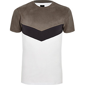 Graues Muscle Fit T-Shirt aus Wildlederimitat