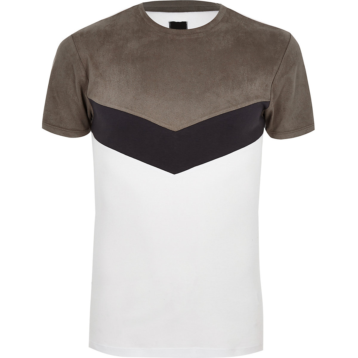 Grey faux suede muscle fit chevron T-shirt