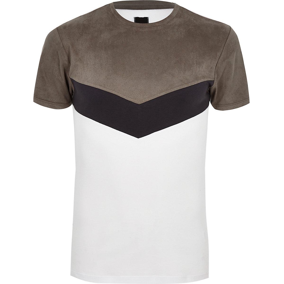 T-shirt ajusté à chevrons en simili daim gris