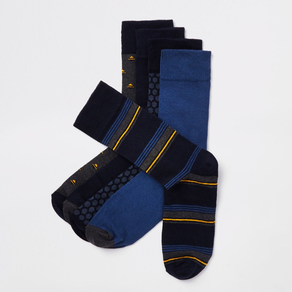 Navy print smart socks multipack