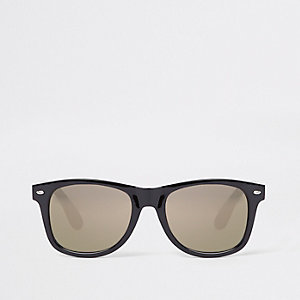 Black gold smoke lens retro sunglasses