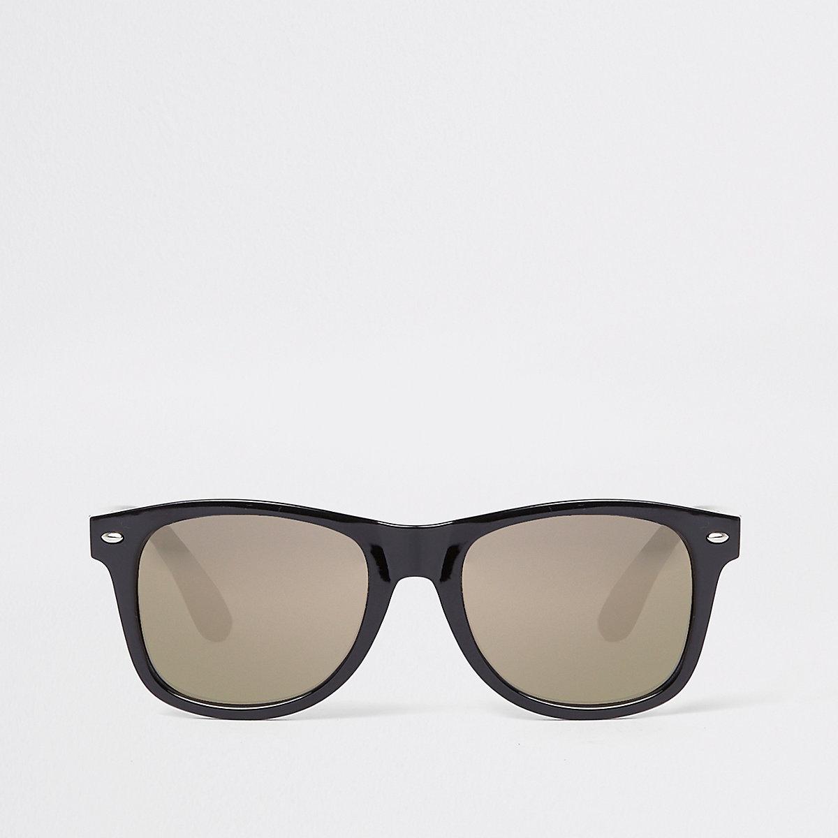 Black gold smoke lens retro square sunglasses