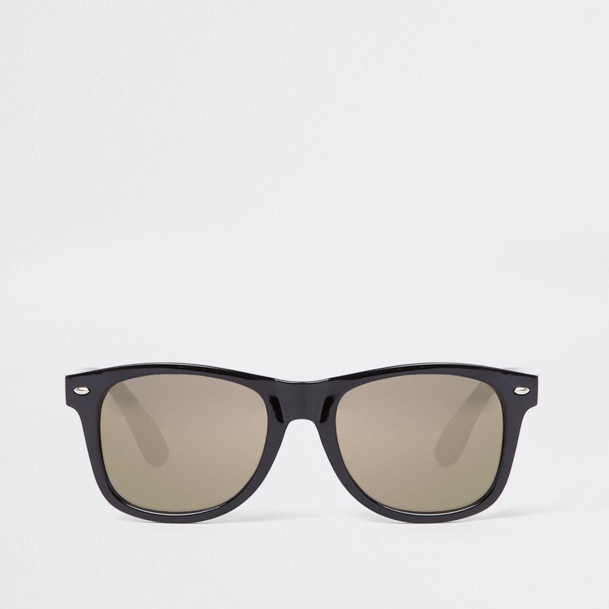 Black gold smoke lens retro sunglasses