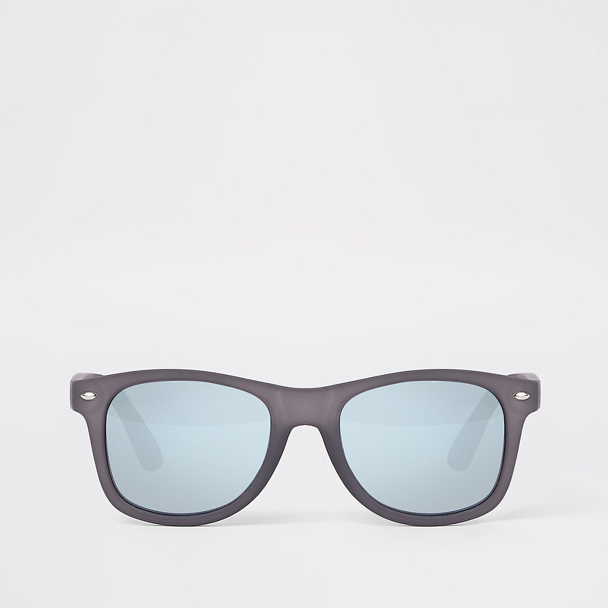 Black rubberised retro square sunglasses