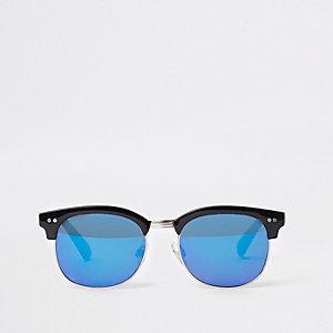 Black half frame retro style sunglasses