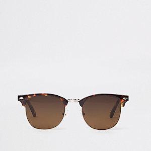 Bruine zonnebril met half montuur in tortoise