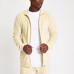 Ecru slim fit embroidered track jacket