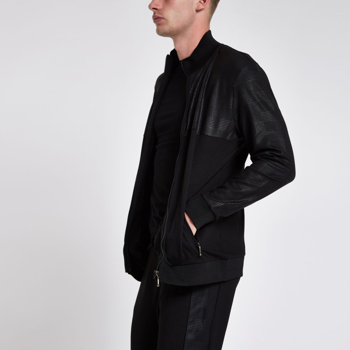 Black slim fit funnel neck track jacket