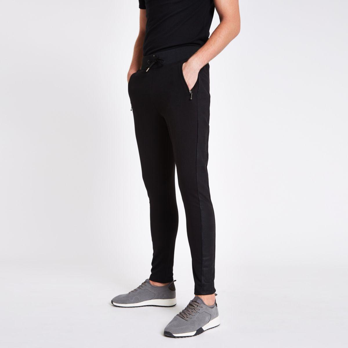 Slim Fit Joggingbroek Heren.Zwarte Geruite Slim Fit Joggingbroek Met Paneel Joggingbroeken Heren