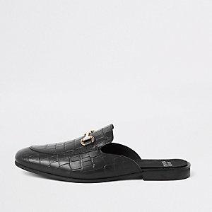 Zwarte leren loafers zonder achterkant met krokodilleneffect