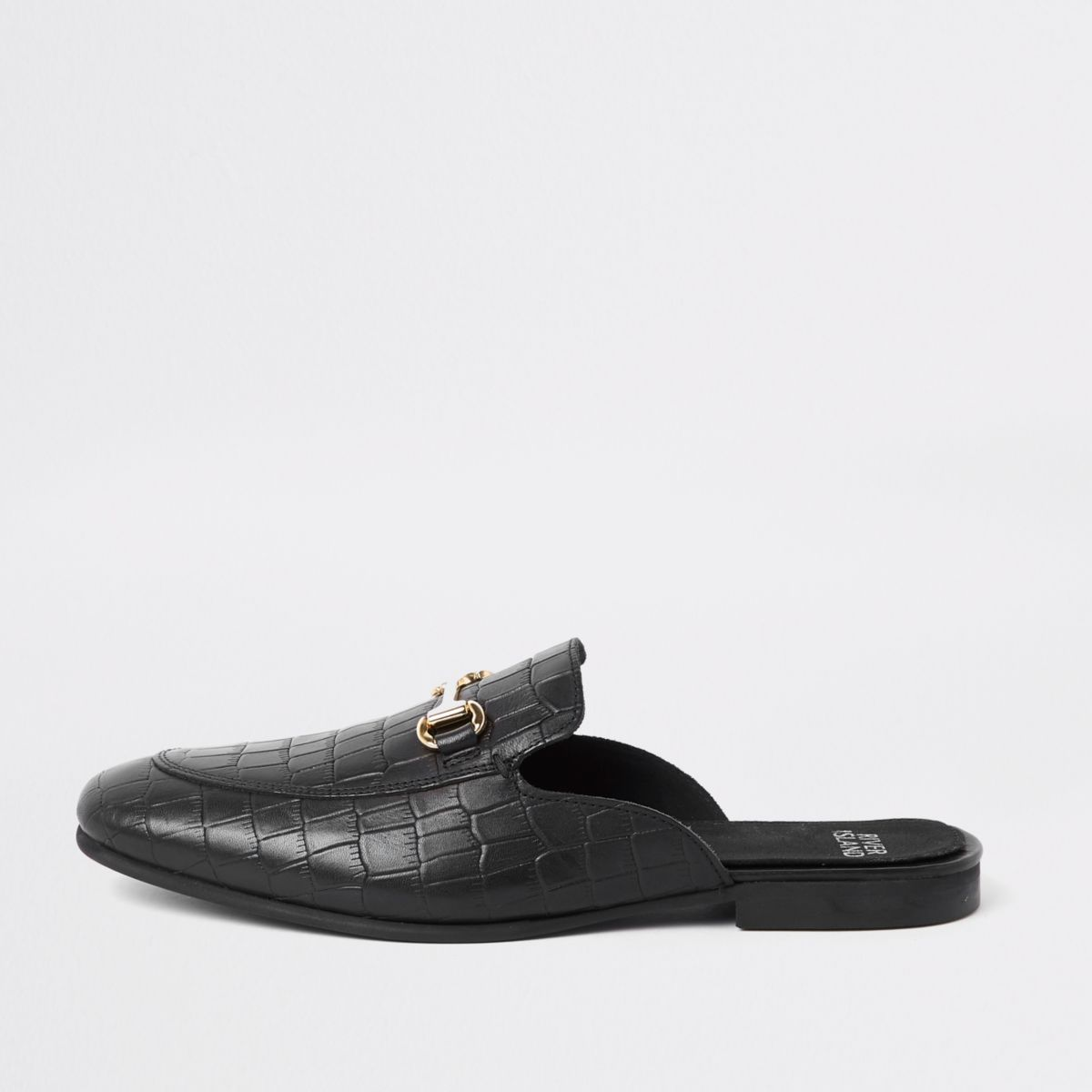 Black croc leather snaffle backless loafers