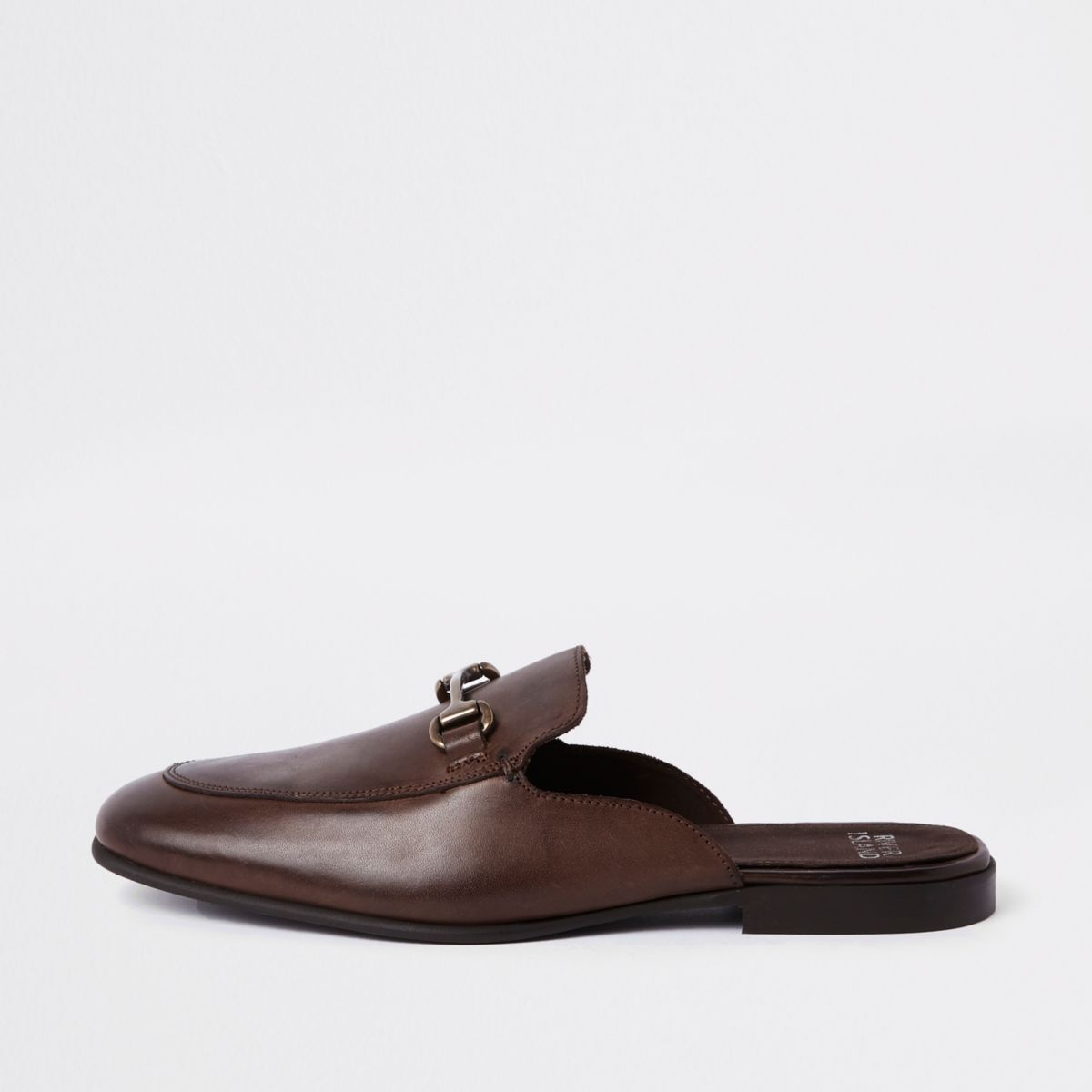 Dark brown leather snaffle backless loafer