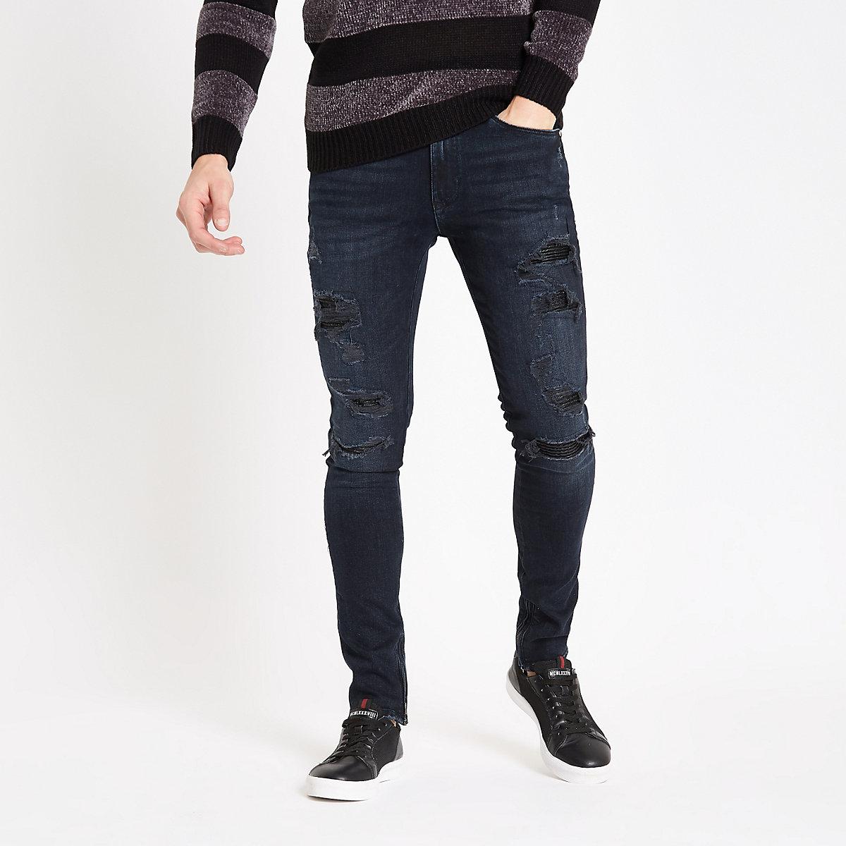 Dark blue Danny biker super skinny jeans