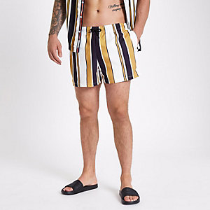 White stripe skinny fit swim shorts