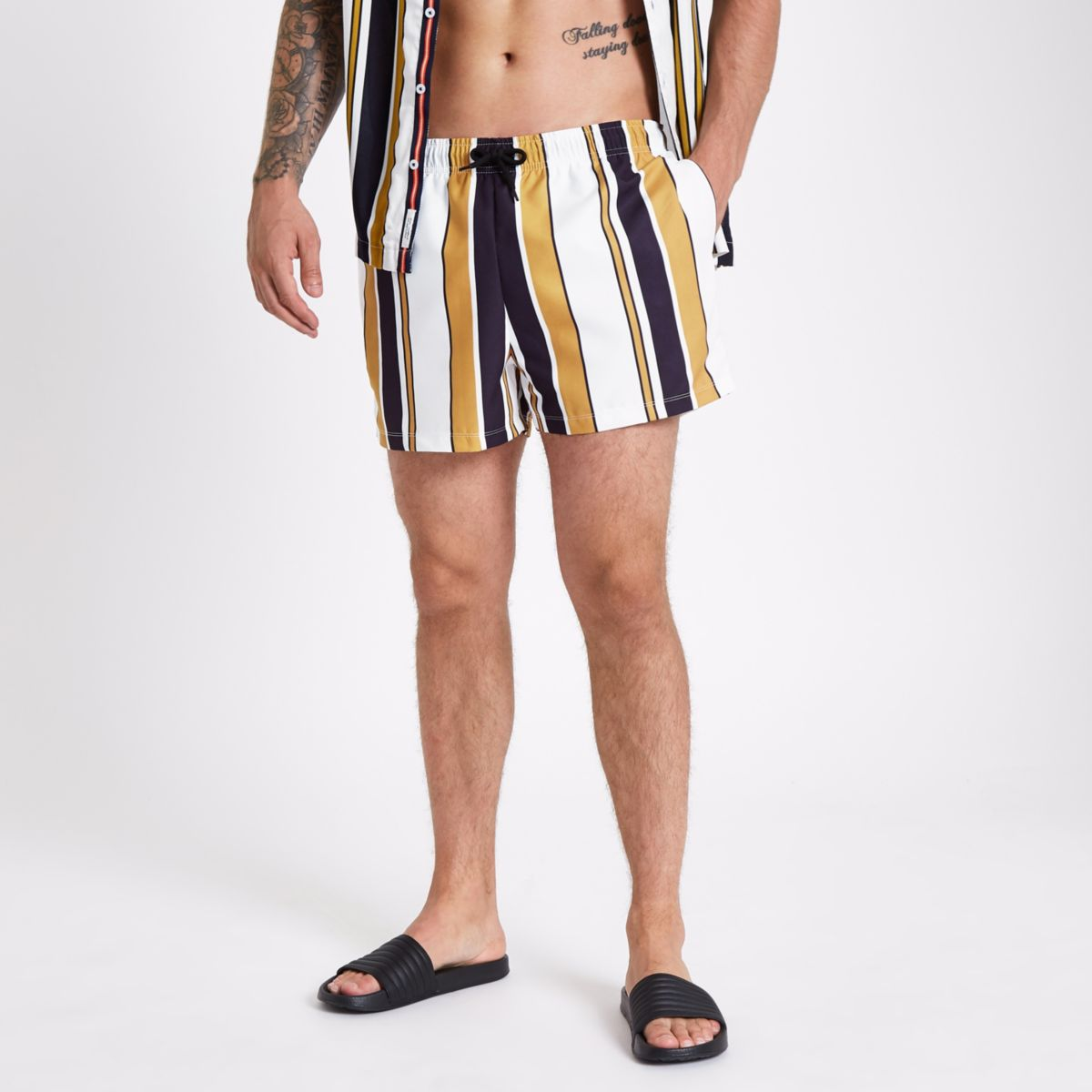 White stripe skinny fit swim trunks