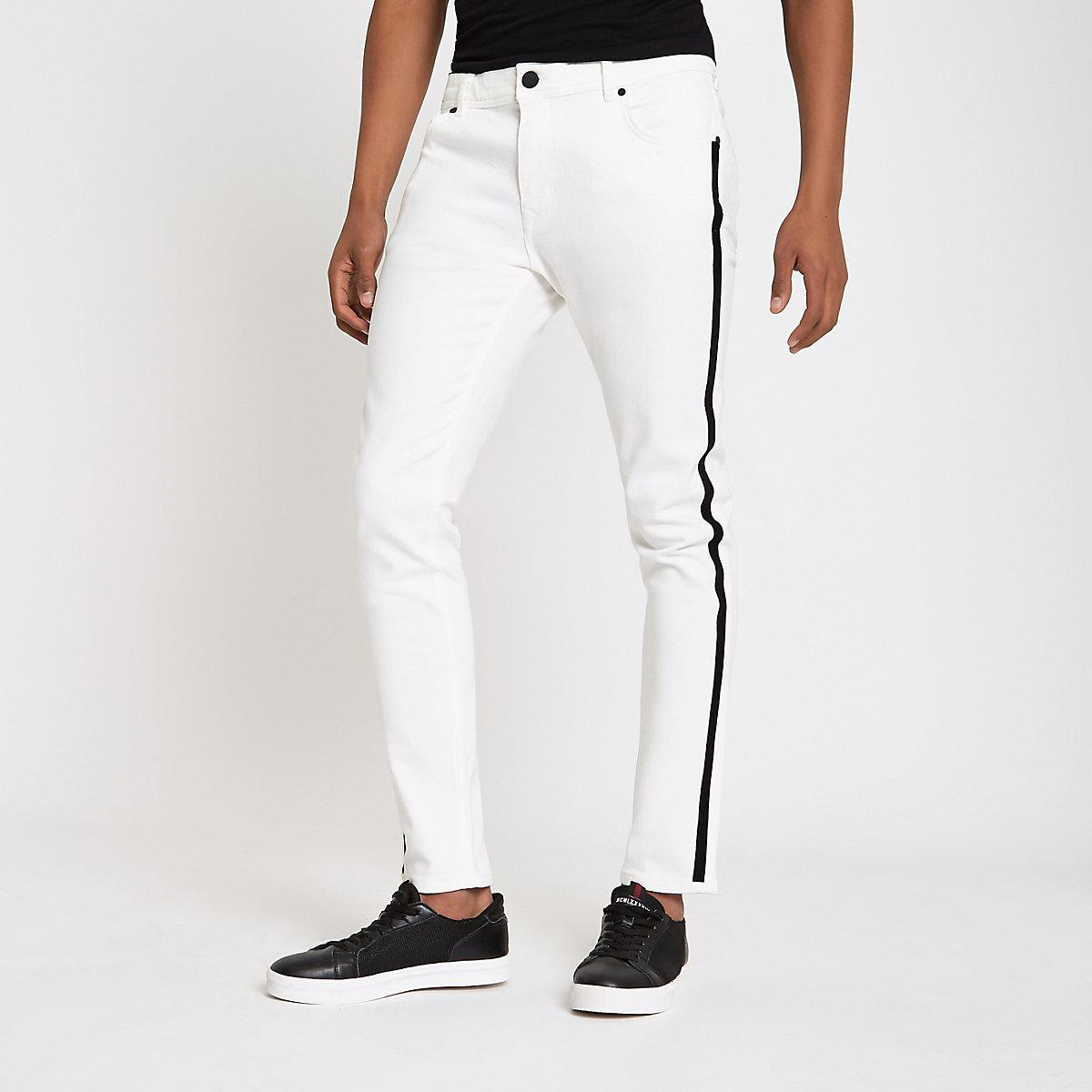 White Sid RI tape side skinny jeans