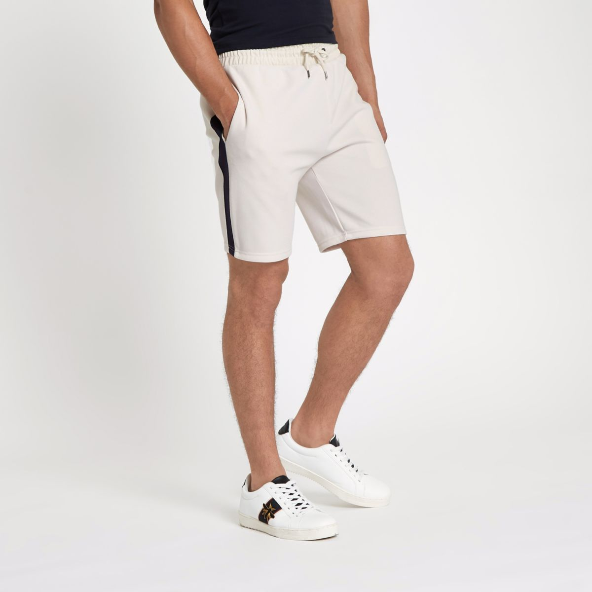 Stone side tape slim fit shorts